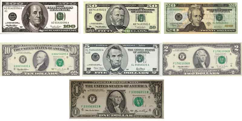 Tedavüldeki dolar banknotları